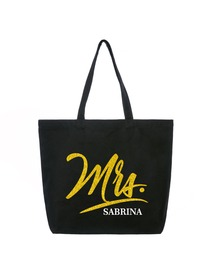 PERSONALIZED Mrs Wedding Bride Tote Bridal Shower Gift Monogram Jumbo Shouler Bag Black with Gold G