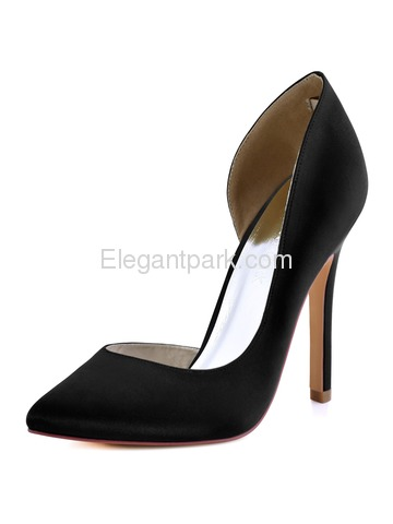 ElegantPark Navy Blue Women Pumps Pointed Toe High Heels D-Orsay Satin Evening Party Dress Shoes (HC1601)