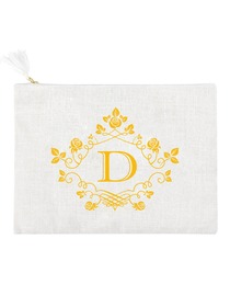 ElegantPark D Initial Monogram Makeup Bag Personalized Party Gift Clutch with Bottom Zip Jute