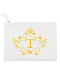ElegantPark T Initial Monogram Makeup Bag Personalized Party Gift Clutch with Bottom Zip Jute
