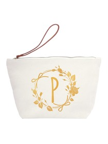 ElegantPark P Initial Monogram Makeup Cosmetic Bag Wristlet Pouch Gift with Bottom Zip Canvas