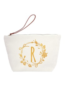 ElegantPark R Initial Monogram Makeup Cosmetic Bag Wristlet Pouch Gift with Bottom Zip Canvas