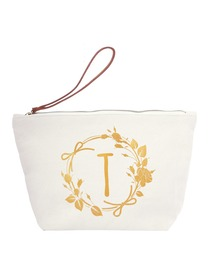 ElegantPark T Initial Monogram Makeup Cosmetic Bag Wristlet Pouch Gift with Bottom Zip Canvas