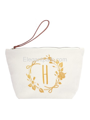 ElegantPark H Initial Monogram Makeup Cosmetic Bag Wristlet Pouch Gift with Bottom Zip Canvas