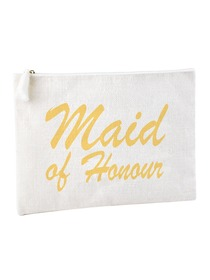 ElegantPark Maid of Honor Clutch Bag Wedding Bridal Shower Gift Handbag Zip White with Gold Script 1