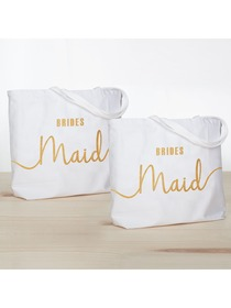 ElegantPark Bridesmaid Jumbo Tote Bag Wedding Gifts Canvas 100% Cotton Interior Pocket White with Go