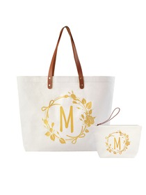 ElegantPark M Initial Personalized Gift Monogram Tote Bag + Makeup Cosmetic Bag with Zipper Canvas