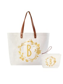 ElegantPark B Initial Personalized Gift Monogram Tote Bag + Makeup Cosmetic Bag with Zipper Canvas