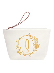 ElegantPark Q Initial Monogram Personalized Travel Makeup Cosmetic Bag Wristlet Pouch Gifts with Zip