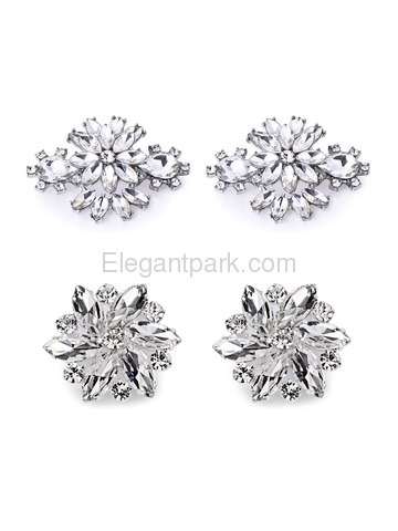 ElegantPark 2 Pairs Combination Women Wedding Accessories AJ+AK Sliver Shoes clips