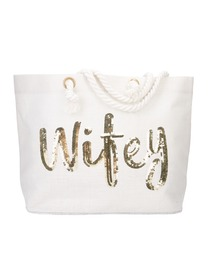 Wifey Bride Tote Bag Wedding Bachelorette Bridal Shower Gifts Jute Gold Sequin with Interior Pocket
