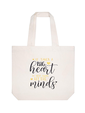 ElegantPark Heart Minds Personalized Teacher Tote Bag With Inner Pocket Ivory Gift Bag