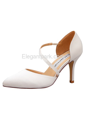 HC1711 Women Sandals Strap Pointed Toe High Heel Pumps Satin Evening Wedding Shoes (HC1711-NW)