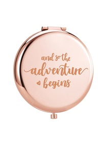 Personalised Gold Round Compact Mirror Makeup Gift and so adventure begins