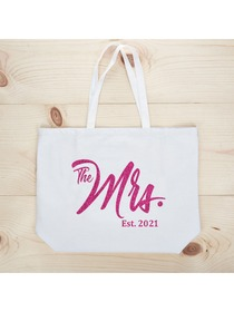 ElegantPark The Mrs EST 2019 Jumbo Wedding Bride Tote Bachelorette Party Gift Shoulder Bag White wi